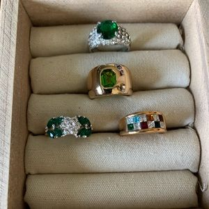 Shades of green vintage costume rings